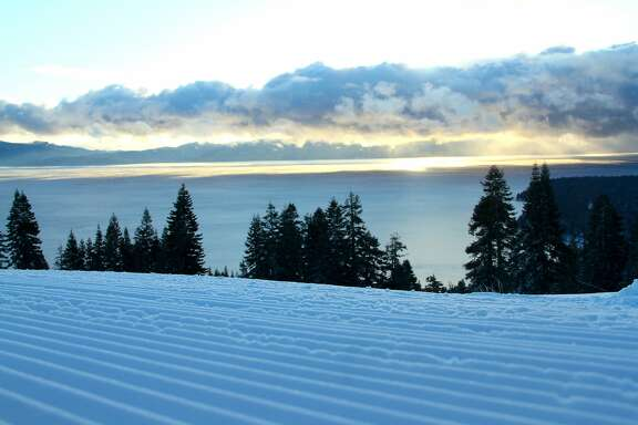 Homewood corduroy: A groomed ski run at Homewood, located on the western shore of Lake Tahoe, refreshed by a foot of snow at the end of last week, with more expected Monday