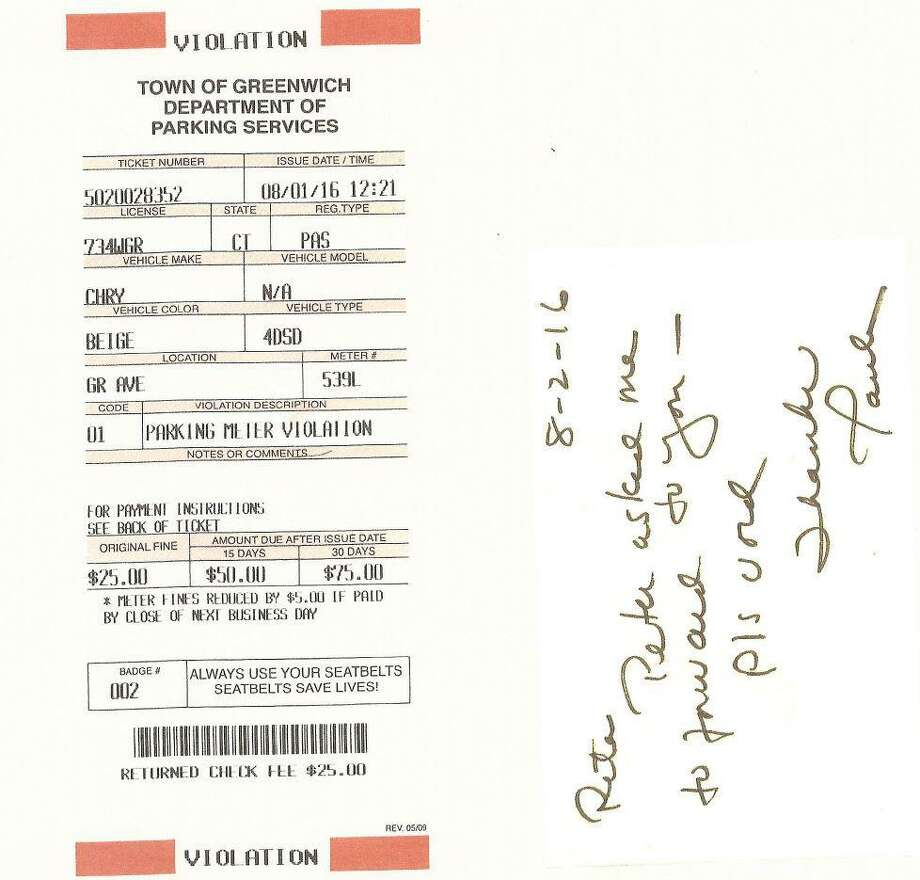 A parking ticket, with a note to void written the next day, was sent by the first selectman's executive assistant to the the parking services director in August 2016. According to First Selectman Peter Tesei, his assistant, Paula Belmont, had the authority to void tickets. Photo: Contributed Photo /
