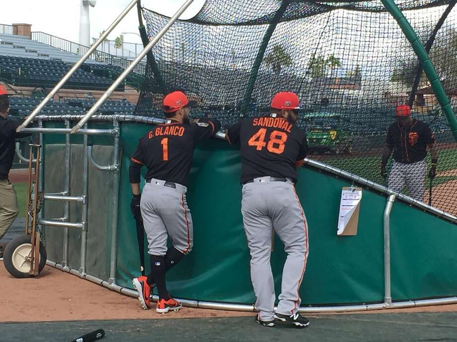 Gregor Blanco and Pablo Sandoval, both nonroster players, have tripled, and homered, respectively, in the Giants' first two spring games. Photo: Henry Schulman, San Francisco Chronicle