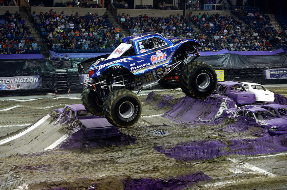 The Bigfoot truck, driven by Larry Swim, flies through the air at the Monster Nation monster truck show at Ford Park on Saturday.  Photo taken Saturday 2/24/18 Ryan Pelham/The Enterprise Photo: Ryan Pelham / ©2017 The Beaumont Enterprise/Ryan Pelham