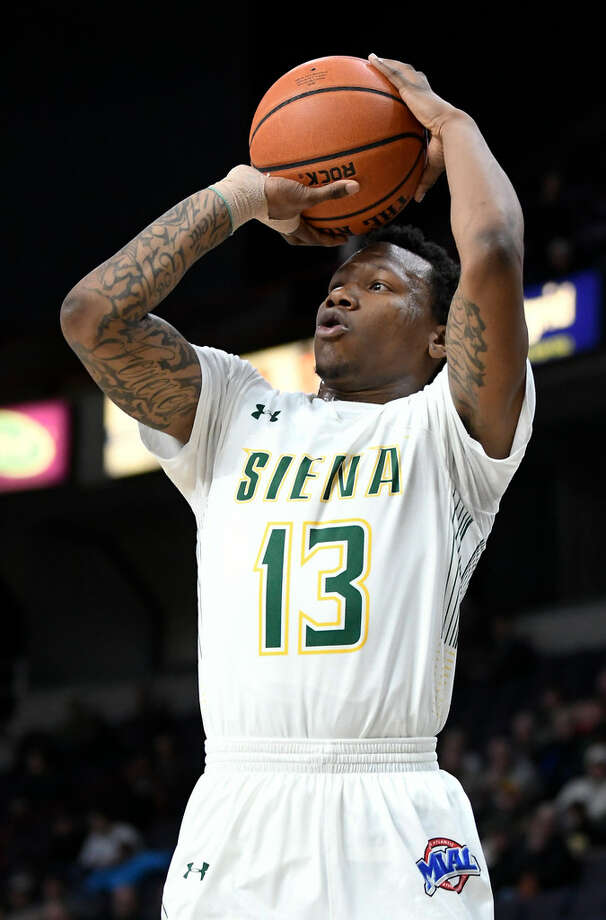 "Siena sophomore guard Khalil Richard said the Saints want to close the regular season ""with a bang"" against Saint Peter's. (Hans Pennink/Special to the Times Union)"