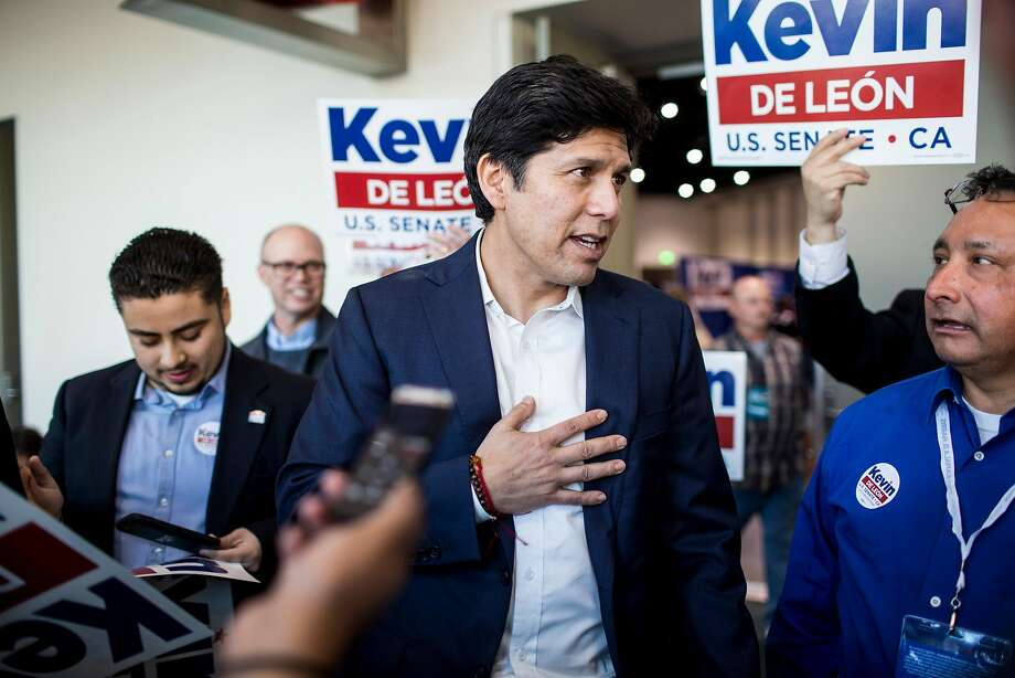 Senator Kevin De Leon speaks at the California Democratic Convention at the San Diego Convention Center Photo: Kent Nishimura, TNS
