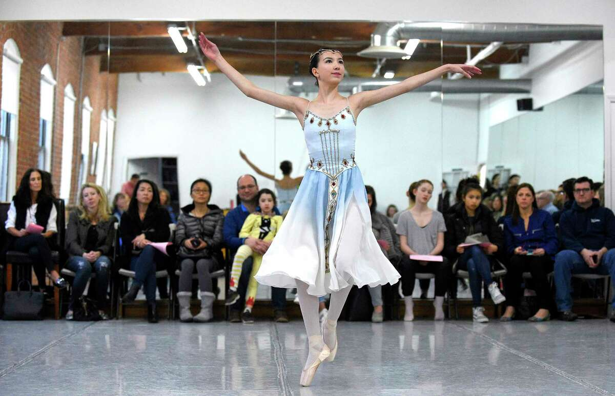 Victoria Rivera performs a solo routine during a mini-showcase of the Greenwich Ballet Academy dancers on Saturday, Feb. 24, 2018 in Port Chester, New York. The dancers are preparing for the upcoming semi-finals for the YAGP competition, an international ballet competition held in Boston and New York.