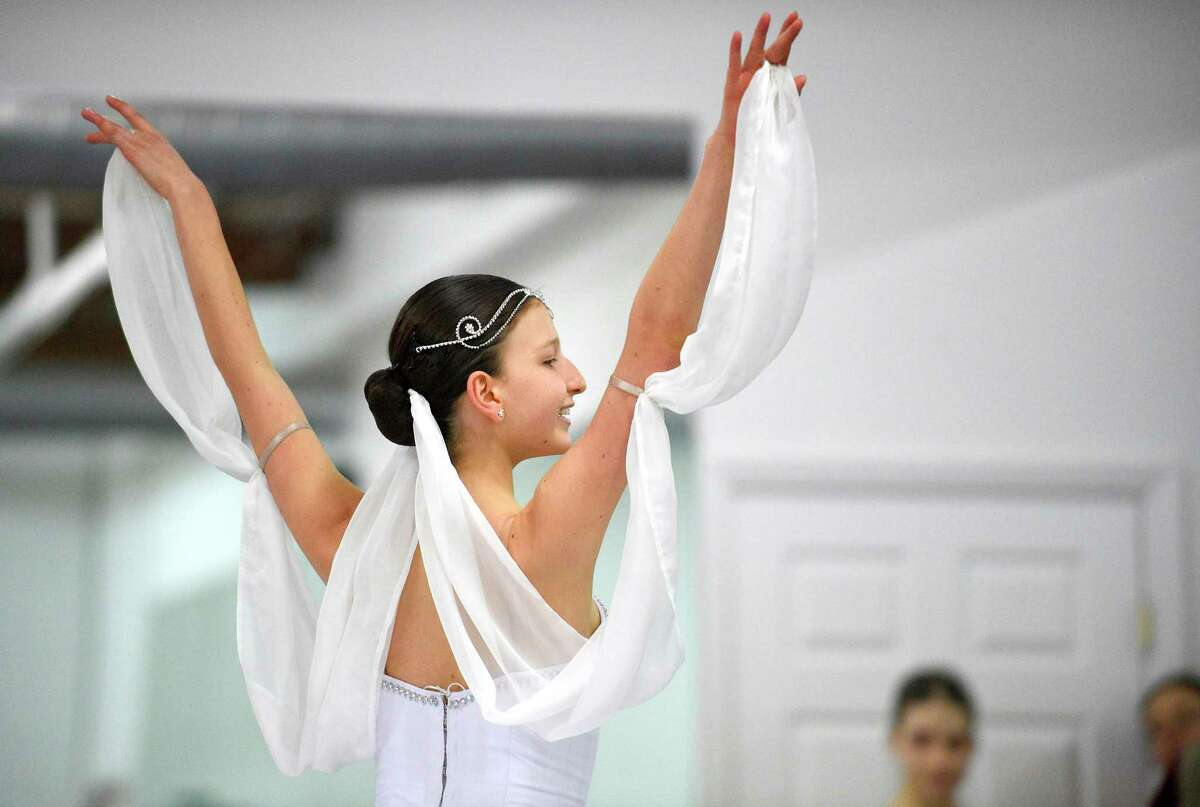 Carolina Rivera performs a solo routine during a mini-showcase of the Greenwich Ballet Academy dancers on Saturday, Feb. 24, 2018 in Port Chester, New York. The dancers are preparing for the upcoming semi-finals for the YAGP competition, an international ballet competition held in Boston and New York.