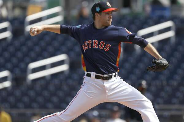 Houston Astros RHP pitcher Collin McHugh (31) pitches in the first inning of the Astros Braves spring training game at The Fitteam Ballpark of the Palm Beaches, Saturday, Feb. 24, 2018, in West Palm Beach.   ( Karen Warren / Houston Chronicle )