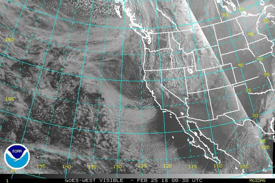 The visible satellite image of the eastern Pacific Ocean and western North America at 4:30 p.m. PST, Saturday, Feb. 24, 2018. Photo: NOAA