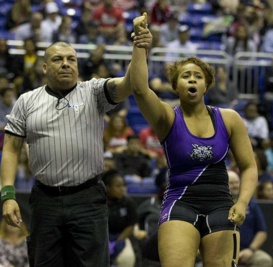 Eloni Sowell of Humble reacts after winning the Class 5A girls 185-pound title during the UIL State Wrestling Championships at the Berry Center, Saturday, Feb. 24, 2018, in Cypress. Photo: Jason Fochtman/Houston Chronicle