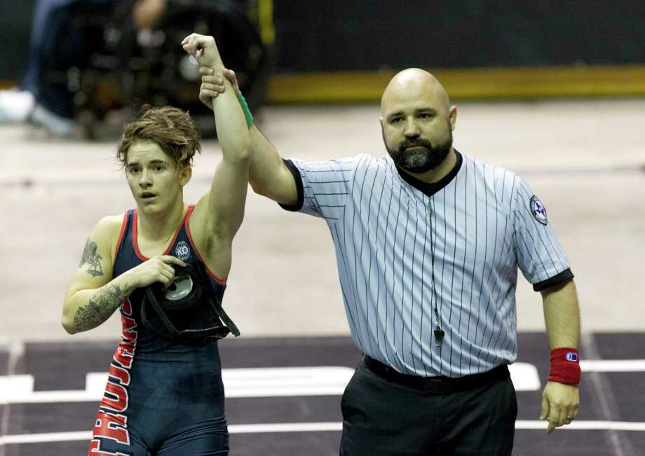Mack Beggs of Euless Trinity defeated Chelsea Sanchez of Morton Ranch to defend his Class 6A girls 110-pound title during the UIL State Wrestling Championships at the Berry Center, Saturday, Feb. 24, 2018, in Cypress. Photo: Jason Fochtman, Staff Photographer / © 2018 Houston Chronicle