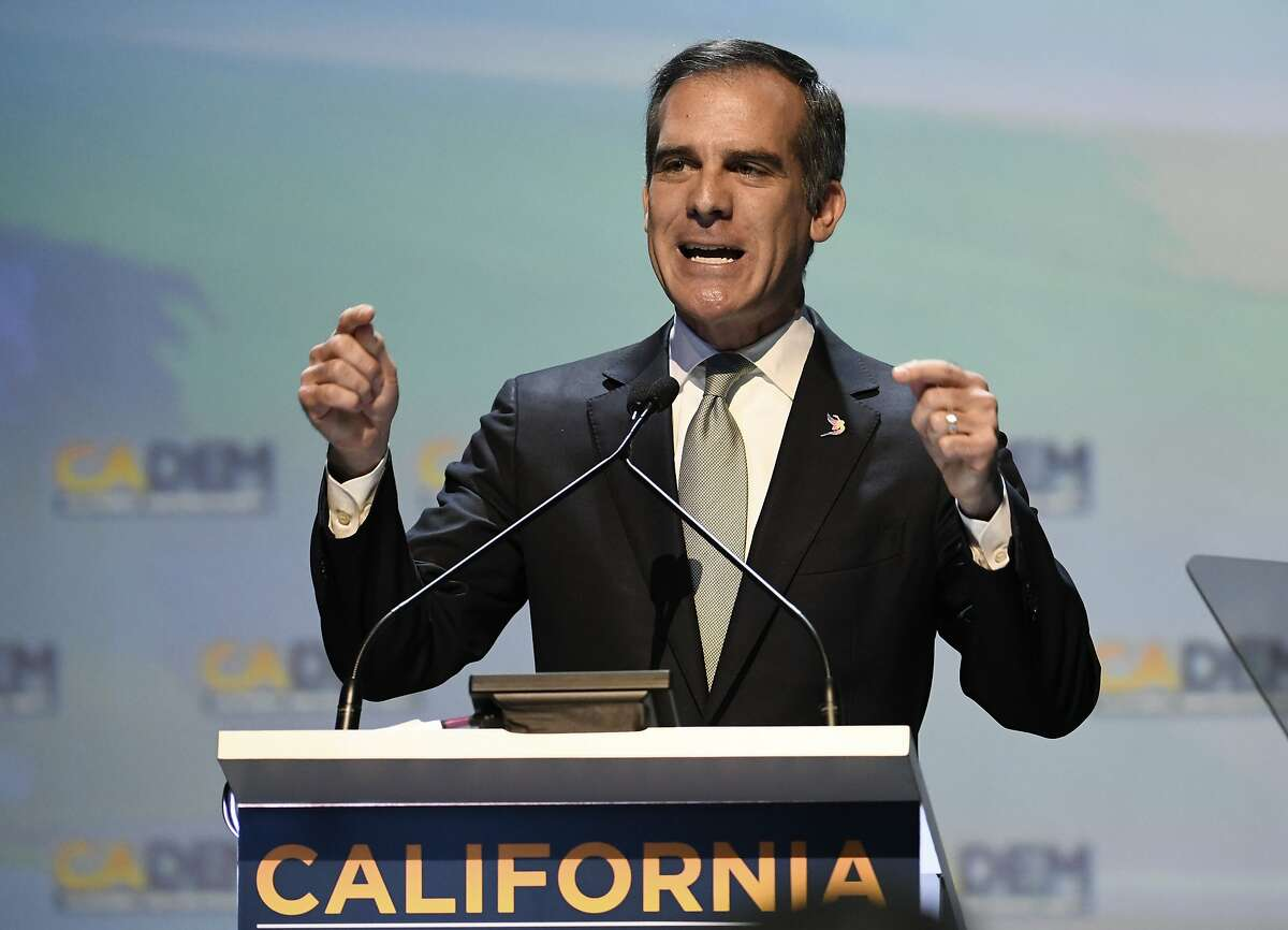 Los Angeles Mayor Eric Garcetti speaks at the 2018 California Democrats State Convention.