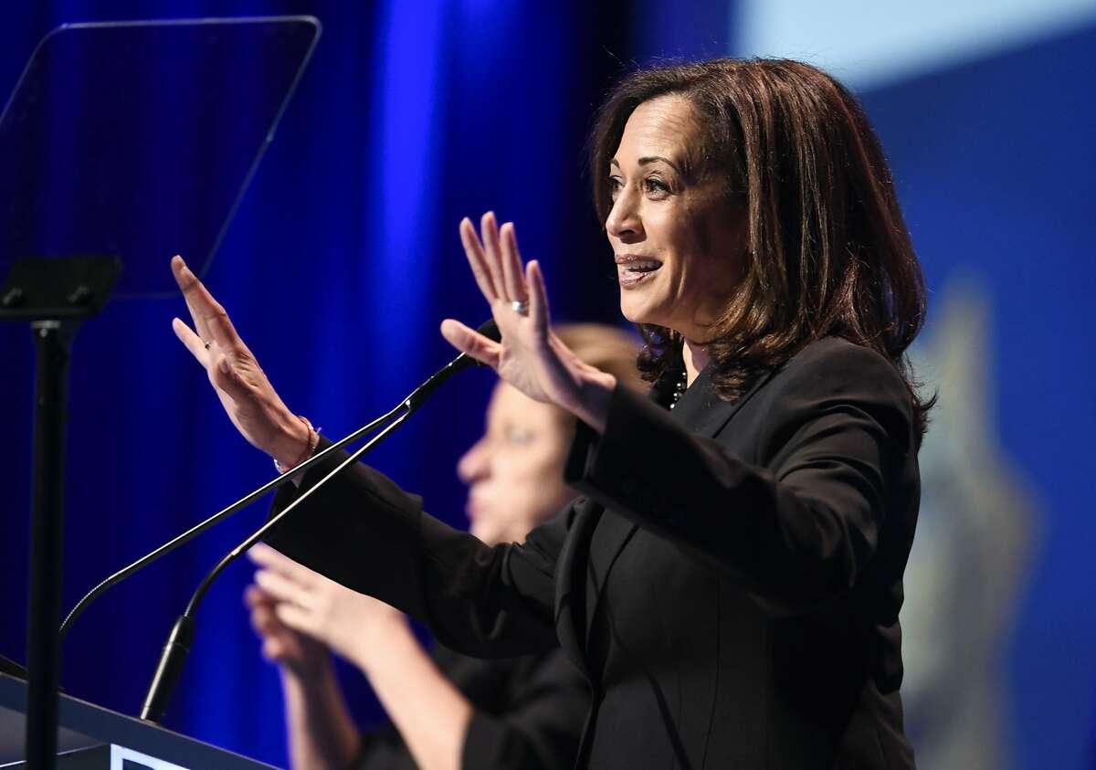 Sen. Kamala Harris speaks at the 2018 California Democrats State Convention on Saturday, Feb. 24, 2018.