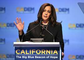 Sen. Kamala Harris D-Calif., speaks at the 2018 California Democrats State Convention Saturday, Feb. 24, 2018, in San Diego. (AP Photo/Denis Poroy)