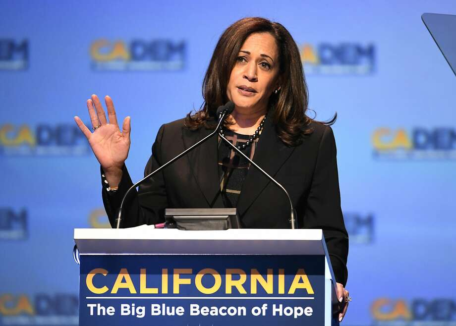 Sen. Kamala Harris D-Calif., speaks at the 2018 California Democrats State Convention Saturday, Feb. 24, 2018, in San Diego. Harris is slated to deliver the commencement address at UC Berkeley's spring 2018 graduation. Photo: Denis Poroy, Associated Press