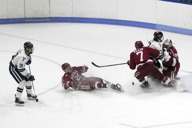 Second-period action from Saturday's men's hockey game between Yale and Harvard at Ingalls Rink.