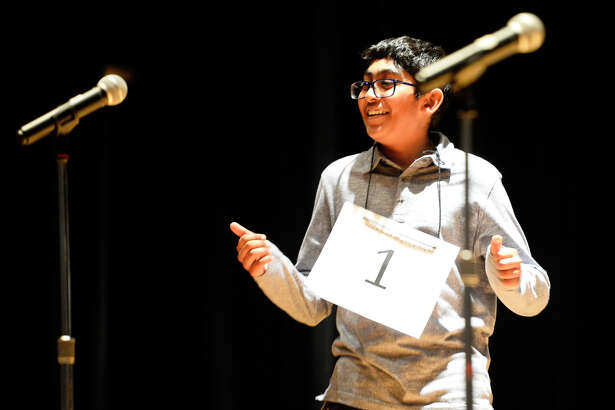 Abell Junior High's Srikar Chamarthi reacts to winning the 31st annual Midland Reporter-Telegram Regional Spelling Bee Feb. 24, 2018 at the Allison Fine Arts building on the campus of Midland College. James Durbin/Reporter-Telegram