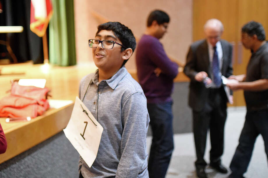 Abell Junior High's Srikar Chamarthi after winning the 31st annual Midland Reporter-Telegram Regional Spelling Bee Feb. 24, 2018 at the Allison Fine Arts building on the campus of Midland College. James Durbin/Reporter-Telegram Photo: James Durbin
