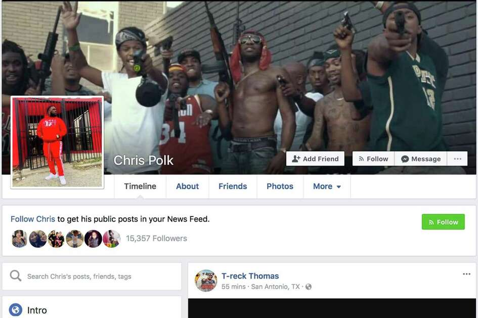 This screen grab shows San Antonio rapper Christopher Polk's Facebook page, featuring what appears to be a scene from one of his videos. Polk died early Saturday in an ambush by multiple gunmen as he was driving on Northwest Loop 410.
