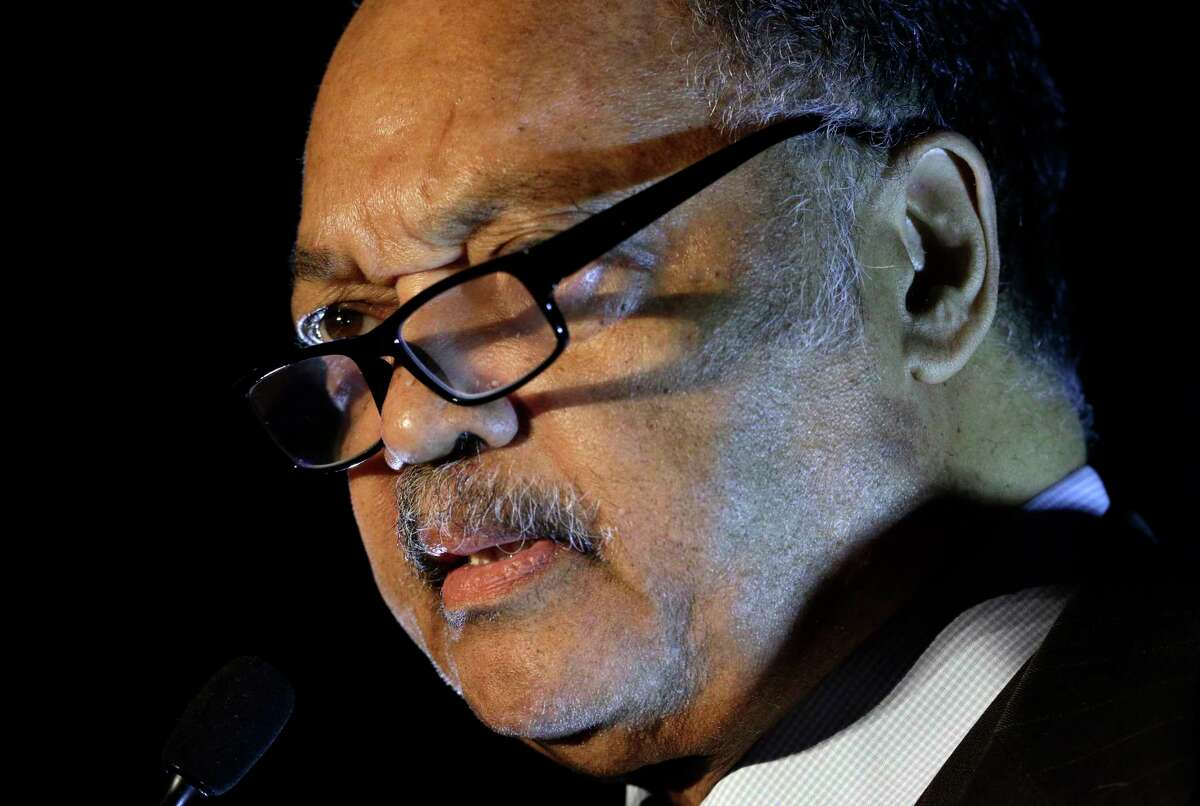 Rev. Jesse Jackson delivers the keynote address at the HCC?s Black History Scholarship Gala at The Ballroom at Bayou Place in Houston, TX, Saturday, Feb. 24, 2018. He met with local community leaders Monday. (Michael Wyke / For the Chronicle)