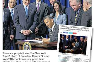 """The lead illustration for Thomas Palmer's commentary, """"A picture is worth a thousand lies,"""" that published in the Times Union Perspective section on February, 25, 2018. Palmer reveals how that photojournalism from legitimate news websites may be stolen and contextually misrepresented to propel disinformation for social propaganda. In this instance, the original photo by Stephen Crowley of The New York Times depicts President Barack Obama's signing of the the STOCK Act on April 4, 2012. But it is was stolen to illustrate a fake story, ?Obama signs executive order banning the Pledge of Allegiance in schools nationwide,? that appeared on a site mimicking ABC News in 2016. The Times' photo continues to support false story narratives on online sites. (Screen shot composite by Jeff Boyer, Thomas Palmer/Times Union)"""