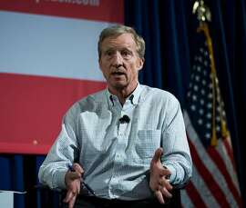 U.S. environmental activist and Democrat Tom Steyer speaks during a town hall meeting against President Trump in January. Steyer is a potential 2020 candidate for president.
