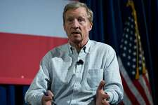 US environmental activist and Democrat Tom Steyer speaks during a Town Hall meeting In the Need to Impeach President Donald Trump in New York on January 29, 2018.    Steyer, the billionaire environmental activist and philanthropist, launched the Need to Impeach movement through television and social networking advertisement on October 20, 2017, calling on supporters to sign a petition.    / AFP PHOTO / Jewel SAMAD        (Photo credit should read JEWEL SAMAD/AFP/Getty Images)