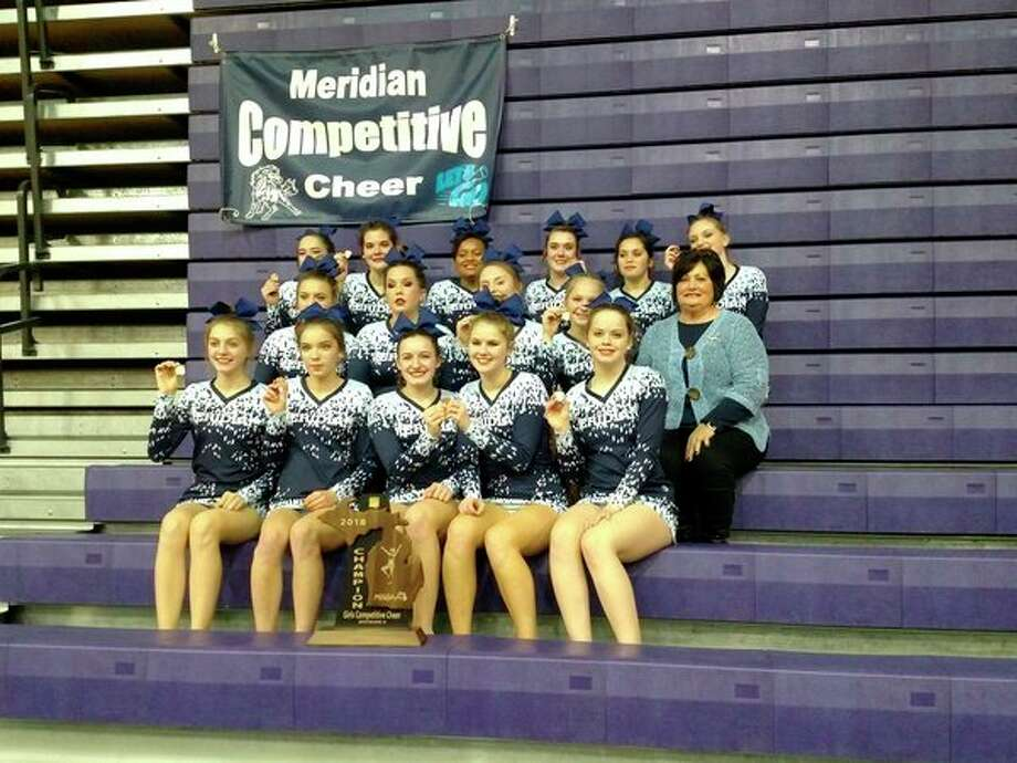 Meridian's regional champion cheer team includes (front row, from left) Jacqueline Poston, Summer Storms, Jade McRoberts, Tana Spangler, Tirzah Doud; (middle row, from left) McKenna Burns, Becky O'Dell, Reese Wallace, Lexi North, Coach Val MacKenzie; (top row, from left) Katie Blanchard, Dalaynie O'Hare, Olivia Wiggins, Aubrey Erskine, Liz Melchi, Libby Wildfong.