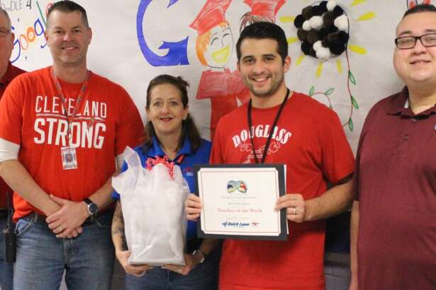 Mark Rodriguez (second from right) is the Cleveland ISD Teacher of the Week. He is pictured with Jeff McClain, Douglass Learning Academy/DAEP Asst. Principal and Counselor John Fritts, Peggy Land and Waldo Rodas.