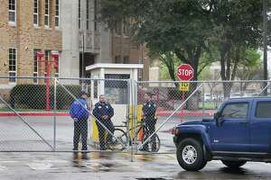 Laredo ISD police and security officers man the main entrance to Martin High School in this Feb. 23, 2018 file photo, as the district conducted a lockdown drill. Law enforcement officers from the LISD, UISD, LPD, Webb County Sheriff's and Texas Parks and Wildlife participated in the drill.