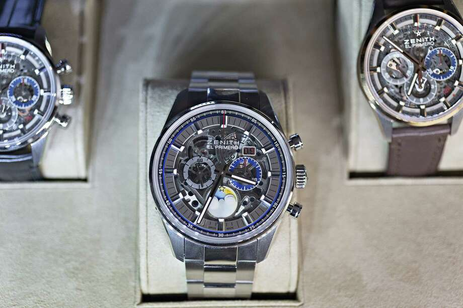 96094f4937b Completed Zenith Defy  El Primero  wristwatches sit on display at the  Zenith