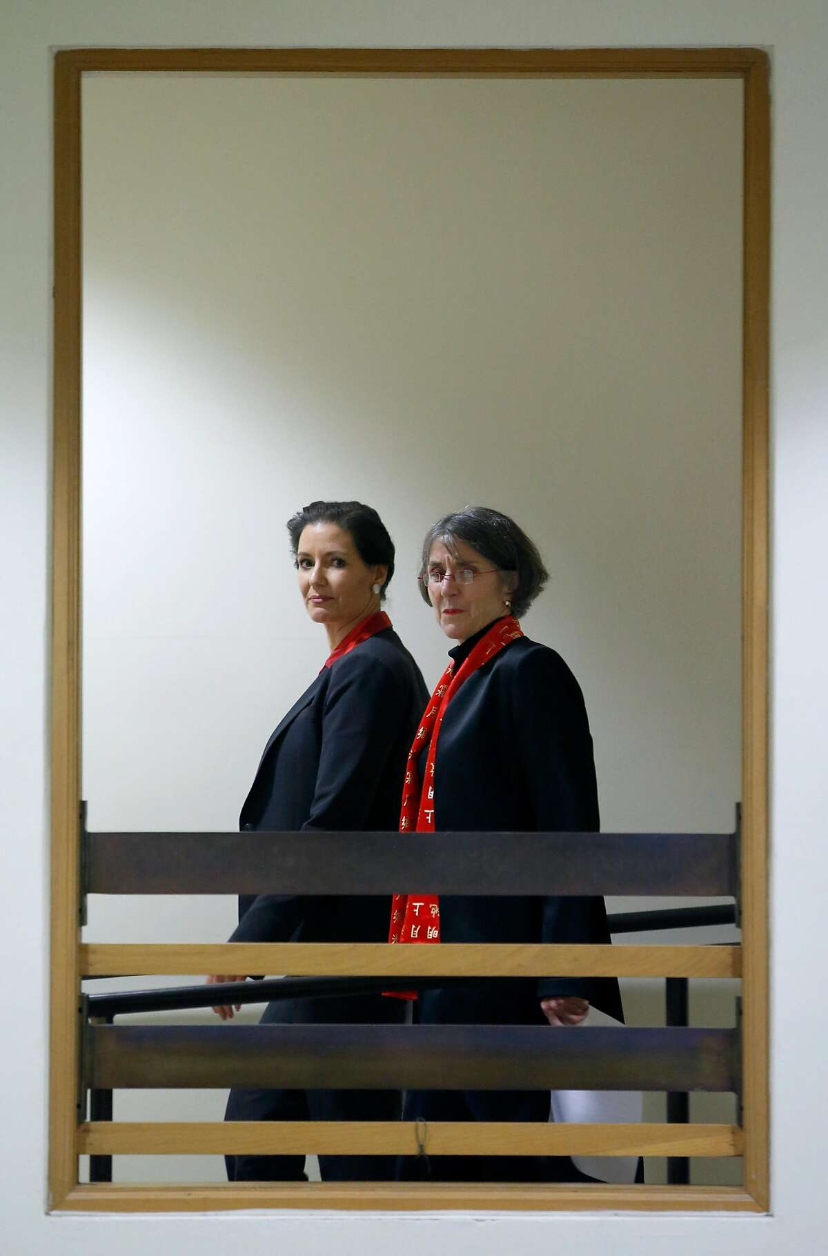 Mayor Libby Schaaf walks through City Hall with Anne Kirkpatrick to a news conference where the mayor will announce Kirkpatrick as the new chief of police in Oakland, Calif. on Wednesday, Jan. 4, 2017.