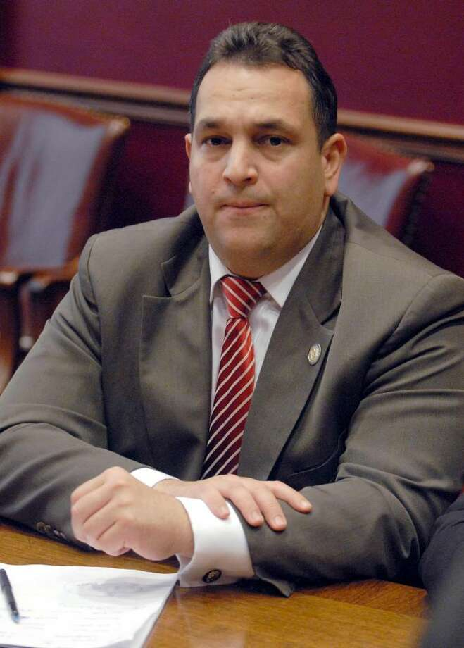 Senate Democrats are calling for the ouster of Sen. Hiram Monserrate, who was convicted of misdemeanor assault after his girlfriend was cut by a glass. The Queens Democrat faces up to a year in jail after being acquitted of a more serious felony charge. Photo: Tim Roske / FR61503 AP