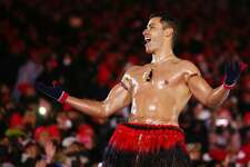 PYEONGCHANG-GUN, SOUTH KOREA - FEBRUARY 25:  Pita Taufatofua of Tonga stands on stage during the Closing Ceremony of the PyeongChang 2018 Winter Olympic Games at PyeongChang Olympic Stadium on February 25, 2018 in Pyeongchang-gun, South Korea.  (Photo by Dan Istitene/Getty Images)