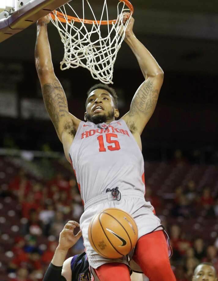 The University of Houston Devin Davis makes a dunk against East Carolina University during the first half of basketball game at Texas Southern University Sunday, Feb. 25, 2018, in Houston. Photo: Melissa Phillip, Houston Chronicle / © 2018 Houston Chronicle
