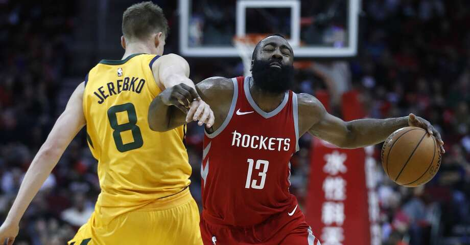 Jonas Jerebko and the Jazz could provide the most physically taxing first-round matchup for James Harden and the Rockets. Photo: Karen Warren/Houston Chronicle
