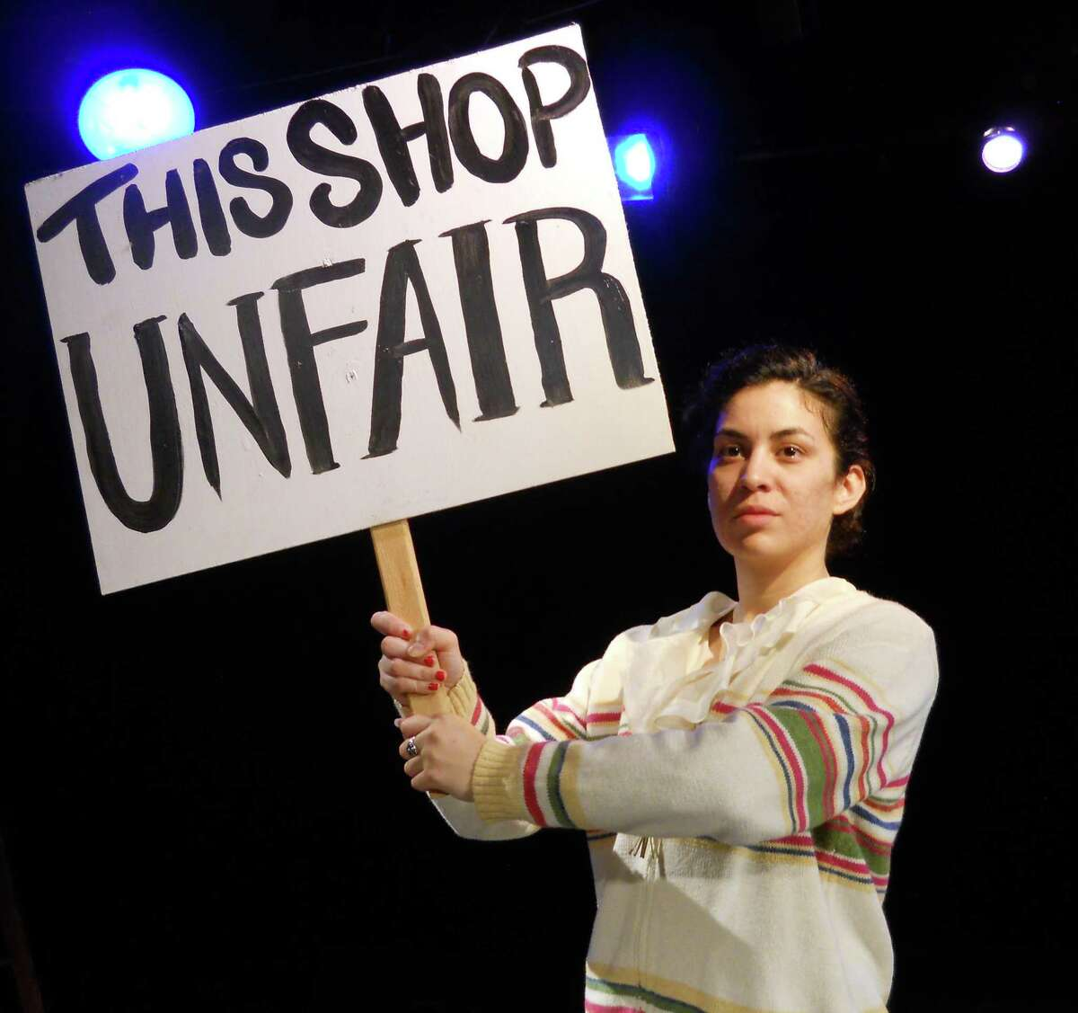 """Denisse Ibarra plays Emma Tenayuca in """"That's Not Fair!"""" at the Guadalupe Theater."""