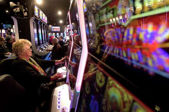 """""""Why can't we have a little fun here?"""" asks a woman named Chris as she plays at Naskil Gaming in Livingston."""