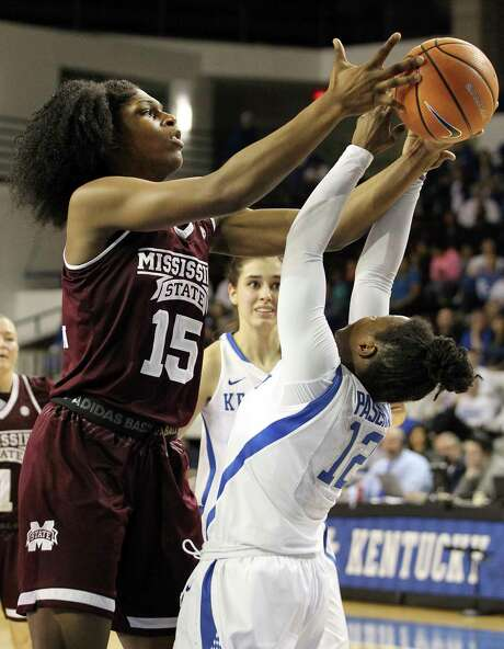Mississippi State's Teaira McCowan (15) had 20 rebounds to go with 20 points in a win over Amanda Paschal and Kentucky on Sunday. Photo: James Crisp, FRE / FR6426 AP