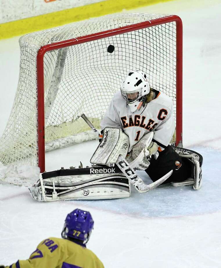 Bethlehem goaltender Alex Breiner (1) reacts as Christian Brothers AcademyOs Hunter Pemrick (77) scores during the first period of a Section II Division I semifinal high school hockey game in Schenectady, N.Y. Sunday, Feb. 25, 2018. (Hans Pennink / Special to the Times Union) Photo: Hans Pennink / Hans Pennink