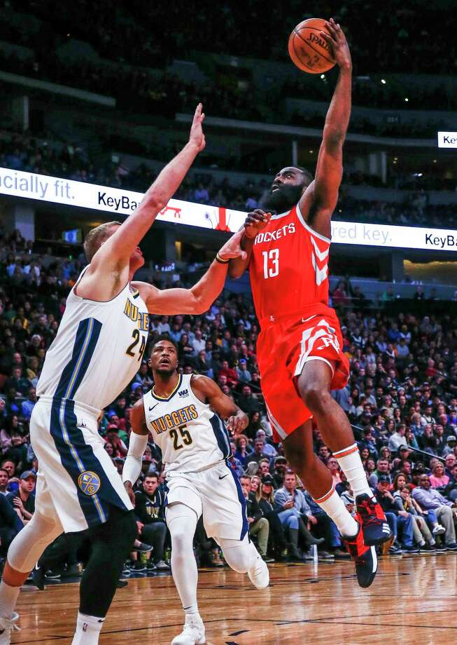 James Harden (13) had a productive night against Mason Plumlee (24), Malik Beasley and the rest of Nuggets - 41 points, eight rebounds and seven assists. Photo: Jack Dempsey, FRE / FR42408 AP