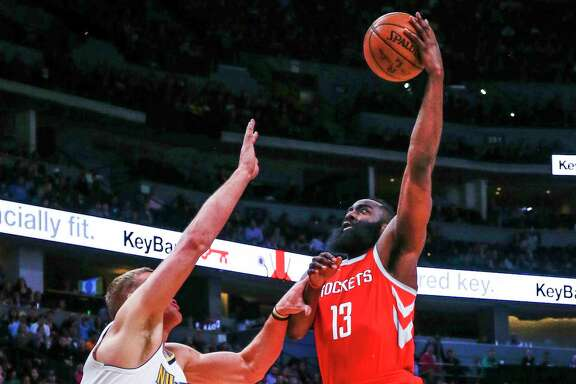 James Harden (13) had a productive night against Mason Plumlee (24), Malik Beasley and the rest of Nuggets - 41 points, eight rebounds and seven assists.