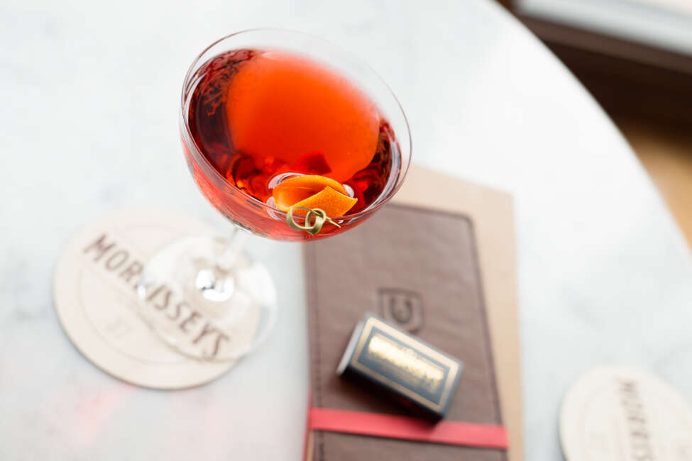 A Classic Negroni cocktail at Morrissey's at the Adelphi Hotel.