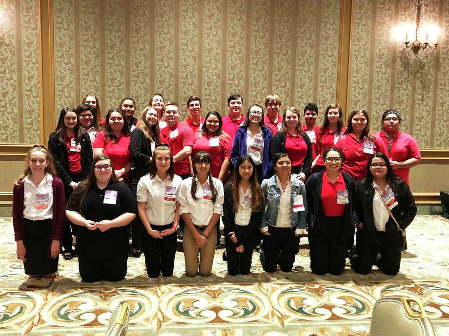 Students who competed and are in the FCCLA program are (front row, left to right) Gabby Zumpano, Brianna Abney, Kaytlin Christlieb, Jacqueline Mendoza, Aleira Lopez, Marina Castillo, Karen Pena, Jennifer Lopez; (second row) Hailey Jenniges, Victoria Keck, Devin Ewing, Cody Carr, Ashley Cepeda, Mikaila Manuel, Anna Brothers, Jacelyn Traegar, Leslie Aguilar; (back row) Mia Castillo, Kenna Johnson, Carolina Tinajero, Alexis Love, Aaron Avalos, Adam King, Troy Griffin, Anthony Parrino and Grace Reavis. Not pictured in the photo are Blaise Tamiggi, Ruben Aguilar and Alejandra Ramos. Photo: Submitted