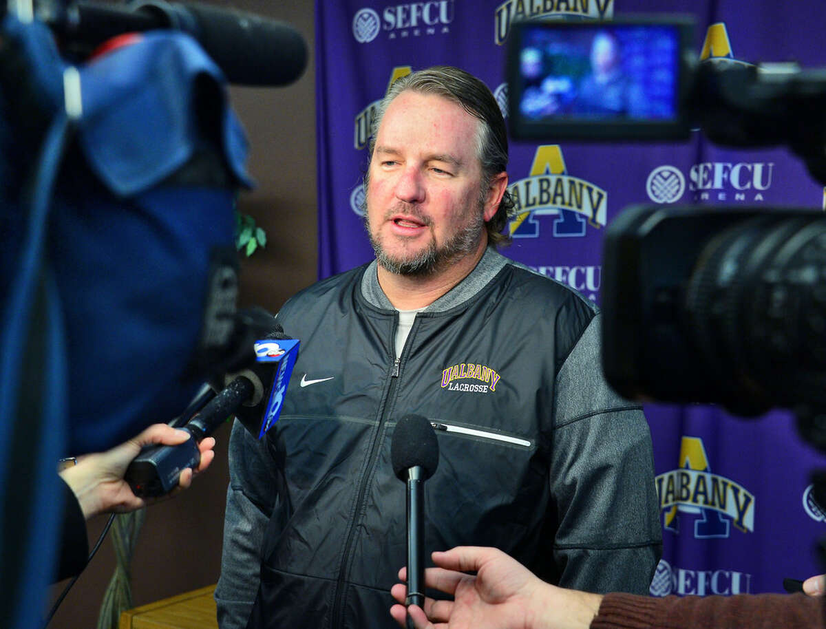 UAlbany men's lacrosse coach Scott Marr said being ranked No. 1 is nice recognition for his program, but the Great Danes still have many goals to reach. (John Carl D'Annibale/Times Union)