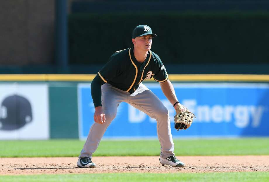 DETROIT, MI - SEPTEMBER 20:  Matt Chapman #26 of the Oakland Athletics fields during the game against the Detroit Tigers at Comerica Park on September 20, 2017 in Detroit, Michigan. The A's defeated the Tigers 3-2.  (Photo by Mark Cunningham/MLB Photos via Getty Images) Photo: Mark Cunningham / MLB Photos Via Getty Images