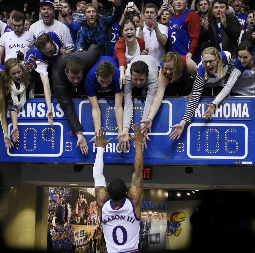 University of Kansas basketball and footballKansas fans have their own version of the wave, and it's a nod to the state's agricultural heritage. At crucial times in a football or basketball game, students slowly wave their arms over their heads, mimicking a field of Kansas wheat swaying in the breeze. The school's famous Rock Chalk chant dates all the way back to 1886 and, according to the school, it evolved from a cheer that a chemistry professor created for the science club.
