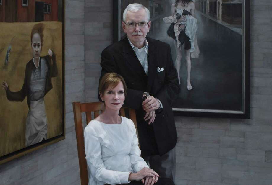 Katie O'Hagan painted this portrait of Steven Alan Bennett and Elaine Melotti Schmidt, who have endowed the Bennett Prize for female painters who paint in a figurative realist style. Photo: Courtesy / © 2015 Gary Mamay