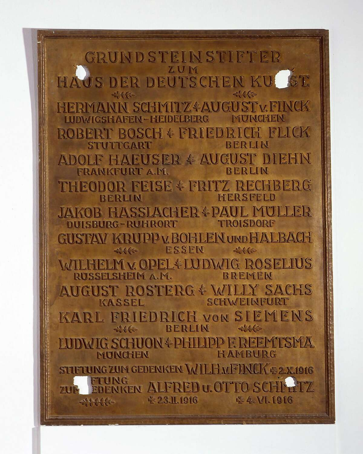 The donor panel of the Haus der Kunst, torn from the wall by American soldiers after World War !!, now prominently displayed.