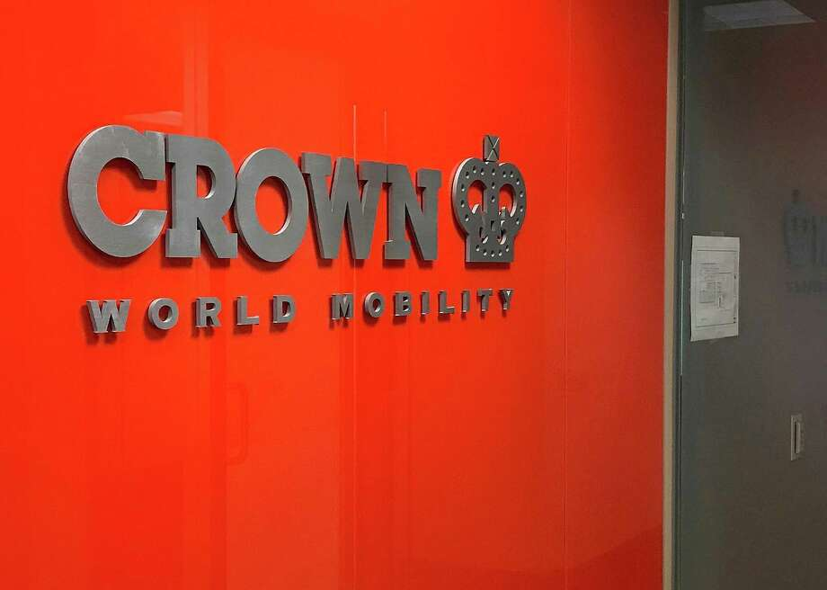 A sign greets visitors at the entrance to Crown World Mobility in Danbury, Conn., on Monday, Feb. 26, 2018. Photo: Chris Bosak / Hearst Connecticut Media / The News-Times