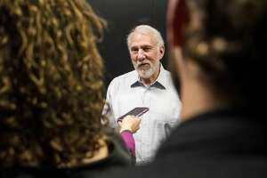 DENVER, CO - FEBRUARY 23: Gregg Popovich of the San Antonio Spurs speaks with reporters prior to coaching against the Denver Nuggets at Pepsi Center on February 23, 2018 in Denver, Colorado. NOTE TO USER: User expressly acknowledges and agrees that, by downloading and or using this photograph, User is consenting to the terms and conditions of the Getty Images License Agreement. (Photo by Timothy Nwachukwu/Getty Images)