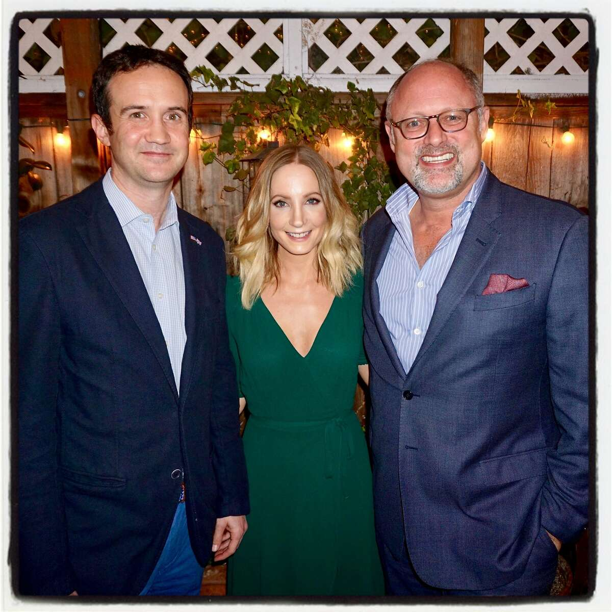 British Consul General Andrew Whittaker (left), actress Joanne Froggat and Jonathan Moscone at Magic Flute restaurant. Feb. 16, 2018.