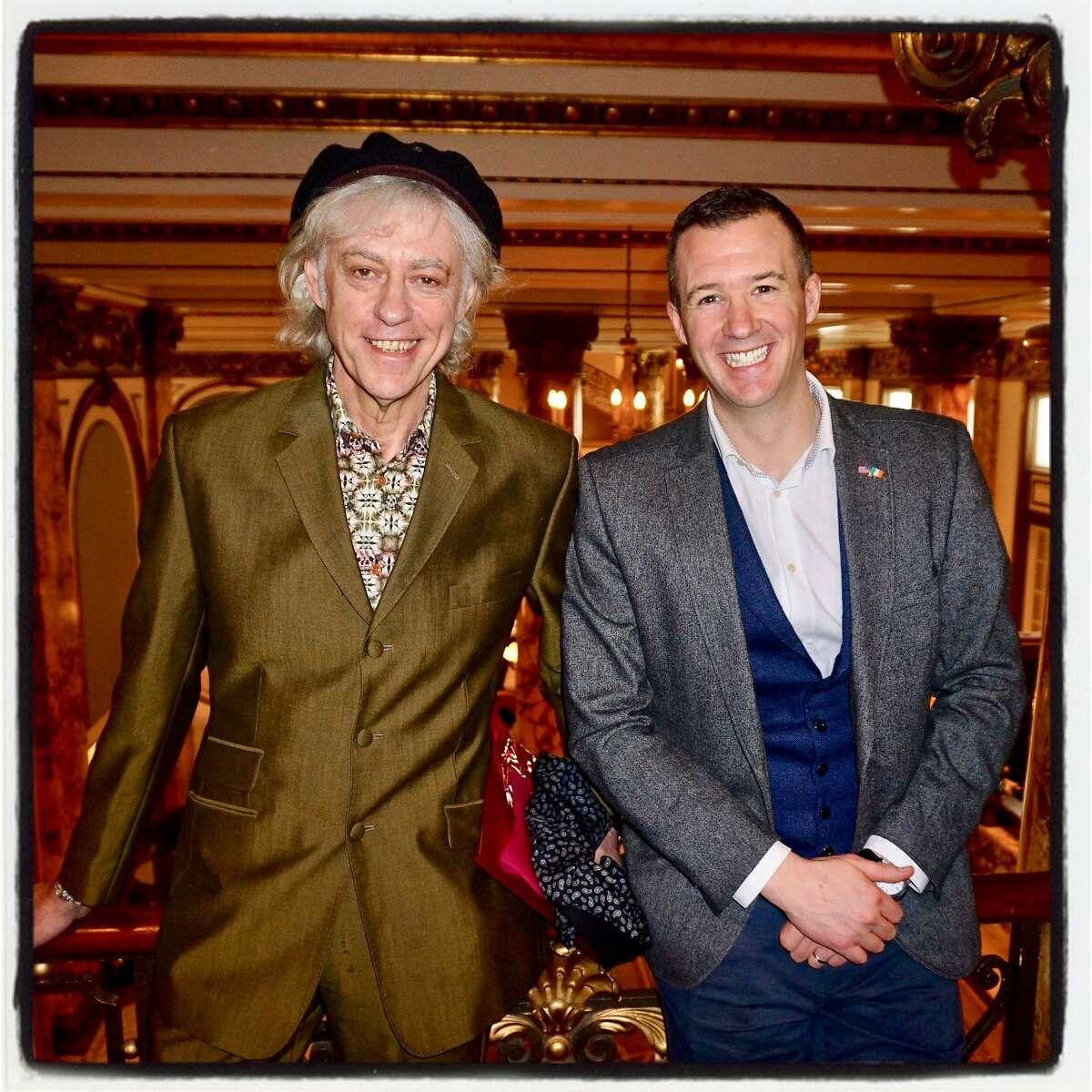 Sir Bob Geldof (left) and Republic of Ireland Consul General Robert O'Driscoll at the Fairmont Hotel. Feb. 18, 2018.